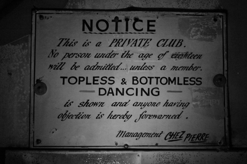 Old entry notice from first Chez Pierre Cabaret